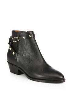 VALENTINO Rockstud Pebbled Leather Biker Ankle Boots. #valentino #shoes #boots