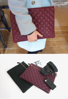 Miamasvin Quilted Zip Front ClutchQuilted zip front clutch. Best paired with a classic black bodycon dress, tights, and matching boots. Accessorize with a pearl necklace to complete the elegant ensemble.- Embossed leather bag- Full lining- Colors: Black, Wine
