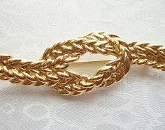 Vintage Trifari Goldtone Rope Slip Knot Brooch Women Designer Wife Friend Collectible Retro Antique Gift