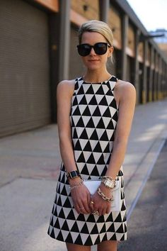 Tired of chevron?  Triangle shift dress with sunnies & and a clutch.