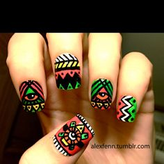 Neon Aztec fake nails, purchase here http://www.etsy.com/listing/89207863/neon-aztec-eye-fake-nails?ref=cat_gallery_3