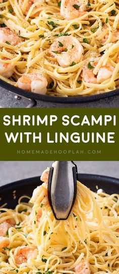 Shrimp Scampi with Linguine! This white wine shrimp scampi is an easy dinner that comes together in 15 minutes! Homemade scampi sauce and juicy shrimp on a bed of tender linguine. | HomemadeHooplah.com