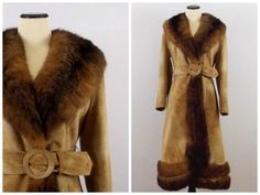abadffe586e Tan Suede Fur Trimmed Ladies Coat - Size Small 70s Groupie Belted Jacket - Vintage  1970s Genuine Suede and Fur Coat