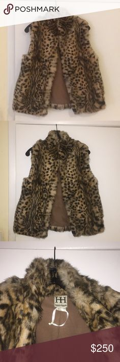 Haute hippie fur leopard vest Haute hippie fur leopard vest. Never worn! Size: small. Haute Hippie Jackets & Coats Vests