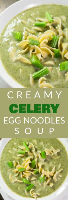 "Creamy CELERY and Egg Noodles Soup recipe! This easy vegetarian soup is filled with vegetables and served with egg noodles for a hearty, healthy dinner! You can even add chicken in it for more protein! It's a simple and delicious way to eat your vegetables, even kids like it!  Whenever I ask myself ""What should I do with a head of celery?"" this soup is always the answer!"