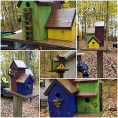 Colorful wood Duplex bird house