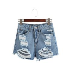 High Waist Ripped Denim Shorts ($10) ❤ liked on Polyvore featuring shorts, destroyed jean shorts, high-rise shorts, destroyed high waisted shorts, jean shorts and distressed shorts