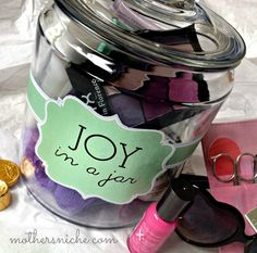 """Joy in a Jar"" printable gift tag. Perfect for brightening someone's day and SO easy to customize for ANYTHING."