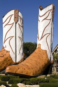 """The Giant Justin's"". The World's Largest Pair Of Cowboy Boots at the entrance to North Star Mall in San Antonio. The 40 foot tall sculpture was created in 1980 by Austin artist Bob ""Daddy-O"" Wade."