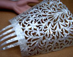Large mother of pearl effect hair comb Spanish mantilla style headdress…