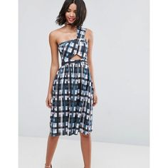 ASOS Gingham One Shoulder Dress with Cut Outs (82 CAD) ❤ liked on Polyvore featuring dresses, multi, cocktail party dress, holiday party dresses, party dresses, one shoulder prom dresses and midi cocktail dress
