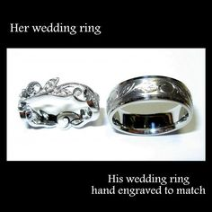 Engraving to match wedding bands! It looks elvish: Beautiful Wedding Bands, Wedding Ideas, Elvish Wedding Rings, Dream Wedding, Matching Wedding Rings, Match Wedding, Handfasting Rings, Matching Wedding Band, Engagement Rings