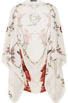Alexander McQueen - Printed Kimono-Sleeve Silk-Georgette Shrug.