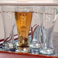 Pilsner Glasses  - wedding gift, groomsmen gift, bridesmaid gift, useful gift