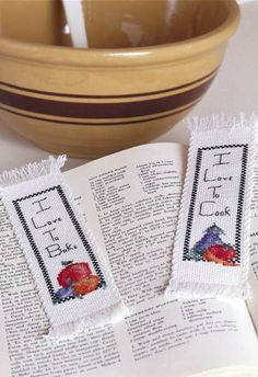 Cute Cross-stitch Bookmarks - crafts-n-things-cross-stitch-cookbook-bookmarks