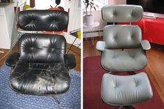 this kills me.never never never EVER reupholster an eames lounge chair! they designed it so it would show age! that grey makes me puke too! Eames Chairs, Upholstered Chairs, Lounge Chairs, Pedicure Chairs For Sale, Chair Redo, Black Dining Room Chairs, Wrought Iron Patio Chairs, Bedroom Chair, Living Furniture