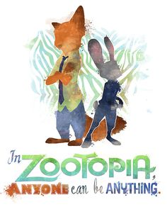 "Zootopia ""Anyone Can Be Anything"" 8x10 Poster - DIGITAL DOWNLOAD / Instant…"