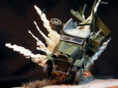 Awesome Diorama Of A Truck In An Explosion