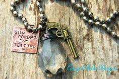 Gunpowder & Glitter Rustic Western Cowgirl Charm Necklace-Pistol, Crystal, Copper. $32.00, via Etsy.