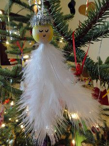 Feather Angel Ornaments | AllFreeKidsCrafts.com