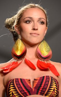 Oversized Earrings  MIAMI BEACH, FL - JULY 21: Models walk the runway at the Mara Hoffman show during Mercedes-Benz Fashion Week Swim 2013 at The Raleigh on July 21, 2012 in Miami Beach, Florida. (Photo by Frazer Harrison/Getty Images for Mercedes-Benz Fashion Week Swim 2013)