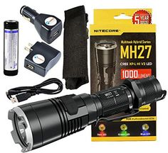 BUNDLENitecore MH27 CREE XPL HI V3 LED with RGB 1000Lmn USB Rechargeable Tactical Flashlight w Xtar 18650 26000mAh Liion battery Lightjunction USB Wall  Car Charger Plug -- You can find out more details at the link of the image.(This is an Amazon affiliate link and I receive a commission for the sales)