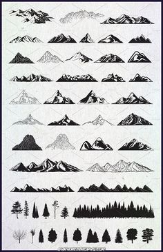 Hand drawn mountains and trees # vector # part # delivered # files . - Hand drawn mountains and trees # vector # part # delivered # files - Drawing Hands, Drawing Tips, Drawing Sketches, Drawing Techniques, Drawings On Hands, Drawing Drawing, Montain Tattoo, Tattoo Drawings, Art Drawings