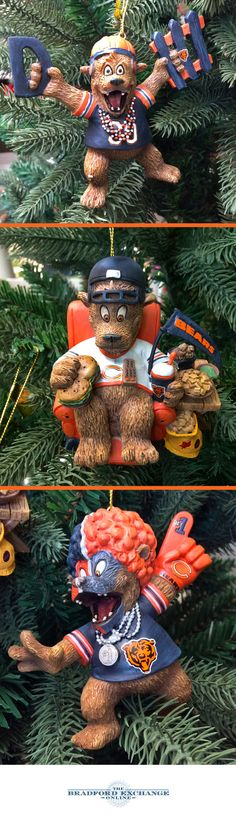 Handcrafted Chicago Bears ornaments showcase detailed sculpted bear fans in game day attire with accessories and official team colors. #chicagobears