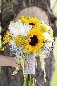 Yellow and Gray wedding bouquet  Gabi  Chase's Wedding