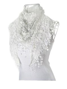 Lace Tassel Sheer Burnout Floral Print Triangle Mantilla Shawl Scarf (White) at Amazon Women's Clothing store: