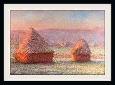 """CLAUDE MONET – """"Meules (almiares, deshielo)"""" -  Entre 1889 y 1891 Monet realizó una serie de 15 lienzos representando unos almiares en las afueras de Giverny. Kandinsky tuvo la oportunidad de ver uno de estos almiares y quedó impresionado hasta el punto de sugerirlo como la primera obra abstracta de la pintura. Leí en el catálogo que se trataba de un montón de heno, pero yo no podía reconocerlo."""