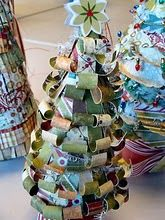 Altered paper Christmas trees