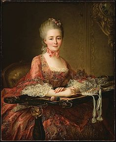 Marquise de Caumont la Force by François Hubert Drouais, 1767. Look at her embroidery working frame.
