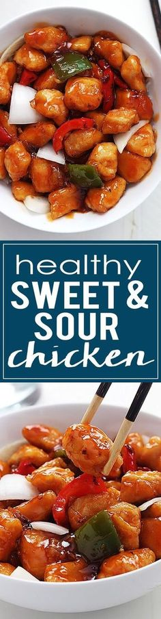 This Healthy Sweet & Sour Chicken is NOT deep fried and still has that crispy texture and amazing flavor you love! | http://lecremedelacrumb.com