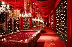 Looking for Red and gold luxe entrance decor idea? Browse of latest bridal photos, lehenga & jewelry designs, decor ideas, etc. on WedMeGood Gallery. Wedding Backdrop Design, Desi Wedding Decor, Wedding Stage Decorations, Sikh Wedding, Valentine Decorations, Rose Wedding, Luxury Wedding, Wedding Things, Wedding Events