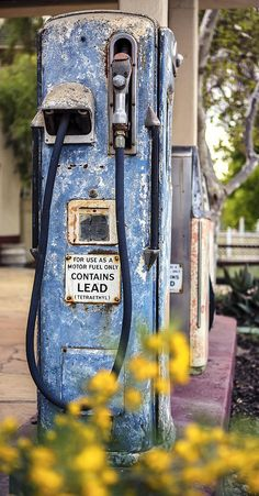 "Contains Lead by Caitlyn Grasso. This retired gas pump stands in front of ""The Station"" in Los Alamos, California. The original service station which was built in 1926 has been converted into an events center!"