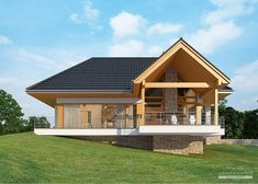 House with attic in modern style with usable area House with a large garage. Minimum size of a plot needed for building a house is m. House Plans Mansion, Cottage Style House Plans, Rustic House Plans, House Roof, House In Nature, House In The Woods, Rest House, Best Tiny House, My Ideal Home