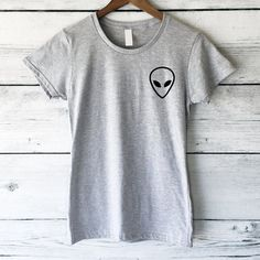 Alien T-Shirt With Graphic in Grey Cute and Funny Shirts Tumblr Shirts... ($19) ❤ liked on Polyvore featuring tops, t-shirts, shirts, silver, women's clothing, silver shirt, pocket t shirts, slim-fit shirt, pocket tee and gray t shirt