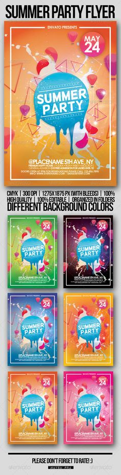 Summer Party Flyer — Photoshop PSD #hd #modern • Available here → https://graphicriver.net/item/summer-party-flyer/4681495?ref=pxcr
