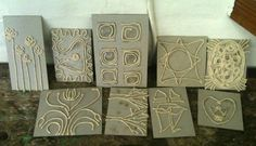 Selection of Collograph Plates use for older kids summer camp remember NO OVERLAPPING of string