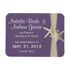 Starfish Purple Save the Date Magnet