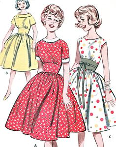 Vintage 1960s Butterick 9396 crisp and fresh versatile dress features a shirred 4-gore skirt and wide inset midriff. View A contrast banding and