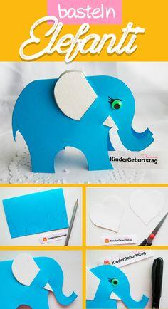 DIY Papier Elefant Mit Kindern basteln - Bastelidee für Kindergarten und Schule. Vorlage zum Ausdrucken.