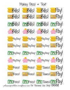 Money Deco & Text – Free Printable Planner Stickers