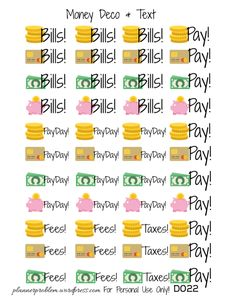 Money Deco & Text – Free Printable Planner Stickers