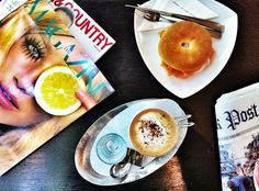 Hot #cappucino #coffee with salmon bagel for Friday's morning