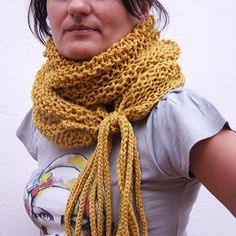 Wrap cowl , knit long scarf in mustard yellow. $80.00, via Etsy.