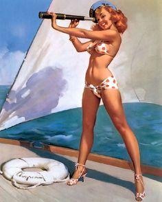 """""""A Splendid View"""" 1960 (Gil Elvgren)"""