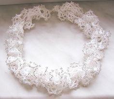 White Wedding necklace by aaalenka on Etsy Beaded Jewellery, Beaded Necklace, Necklaces, Jewelry, Liliana, Ruffle Beading, Beading Ideas, Corals, Shibori