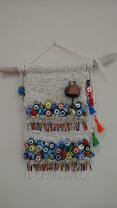 Atelyem dekoratif dokuma çalışmaları - My WordPress Website Evil Eye Art, Felt Roses, Pom Pom Crafts, Prayer Flags, Art Textile, Mandala Drawing, Blossom Flower, Weaving Techniques, Handicraft